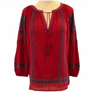 Joie Gaige Red Embroidered Peasant Top